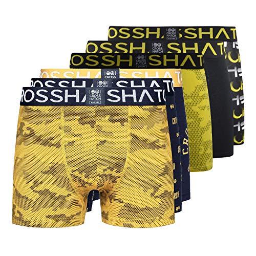 Crosshatch Gleasea Herren Boxershorts (6er-Pack), Leuchtendes Gelb/Altgold, XXL