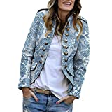 Blazers Mujer Slim Fit SHOBDW Liquidación Venta Señoras de la Oficina Trajes Mujer Casual Chaqueta Mujer Solapa Cardigan Mujer Largos Impresión Botón Abrigo Mujer (Azul,L)