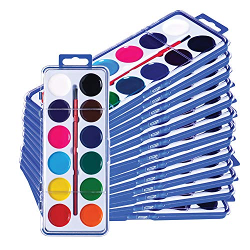 Neliblu Watercolor Paint Set for Kids - Bulk Set of 24 - Washable Paints in 12 Colors - Perfect for Home, School and Party- Paintbrush Included