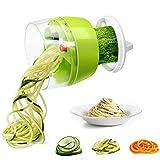 WIG-WYF Espiralizador de Verduras de Mano, espiralizador 4 en 1, Cortador en Espiral de Mano de actualización, máquina de Fideos de calabacín y Pasta de Verduras y Espaguetis, Espaguetis de Calabacin