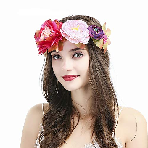 HkFcle (2 Stück) Frauen-Mädchen-Blumenkranz Krone, Garland Stirnband, künstliche Pfingstrose Kranz Haarreif