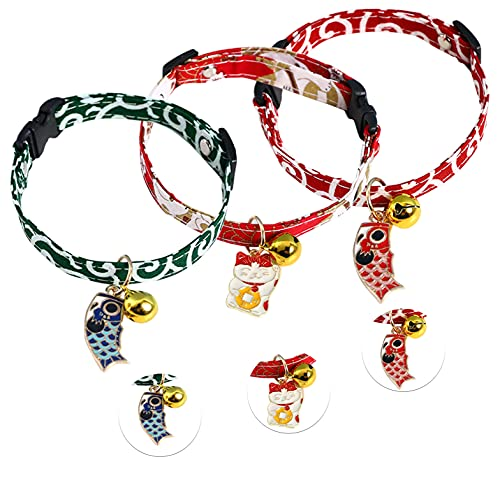 Urzeroo Cat Collar Breakaway with Bell(Pack of 3 PCS), Fish and Cat Tag Themed Adjustable Kitten Collar for Cats Safety Elastic Strap Green Red