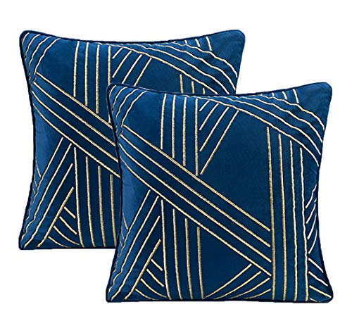 ZUODO 18 x18 Inches Navy Geometry Jacquard Pillow Covers Soft Jewelry Blue Velvet Cushion Covers 45 x45 cm Embroidered Decorative for Couch Bed Car Pack of 2