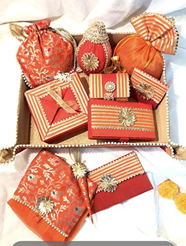a Handmade Brocade and Gotta lace Tray , Tissue Cloth potli , Brocade potli , nariyal, Coin Pouch,Cash Envelope, Bangle Box , Saree Cover, Sweet Box ( Medium Size) mahendi Cone , Cash Box