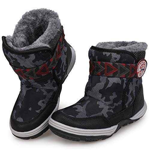 UOVO Boys Winter Snow Boots Ankle Boots for Kids Waterproof Slip Resistant Warm Outdoor (Little Kids) (12 M US Little Kid, Black)