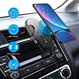 Techken Wireless Car Charger Mount Smart Sensor |Fast Charging|Auto-Clamping|Case Friendly|Qi Charging Mount Compatible with iPhone Xs Max XR X 8 Plus, Samsung Galaxy Note 10 9 S10+ S10 S9