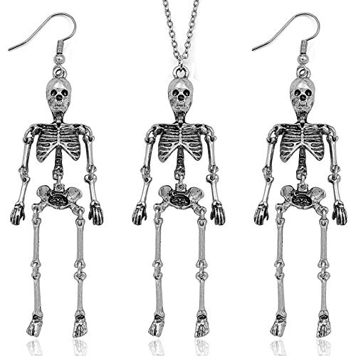 Gleamart Halloween Skeleton Necklace Skull Skeleton Dangle Earrings Set for Women Skeleton 02