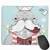 マウスパッド セイウチ じいちゃん 船 グレー ゲーミング オフィス最適 おしゃれ 疲労低減 滑り止めゴム底 耐久性が良い 防水 かわいい PC MacBook pro/DELL/HP/SAMSUNGなどに 光学式対応 高級感プレゼン YAMAYAGO