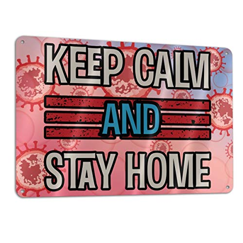 SD3DPrint - Señal metálica de aluminio con texto en inglés 'Keep Calm And Stay At Home Stop Coronavirus Covid-19'