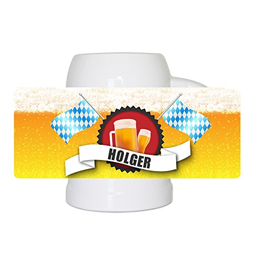 Bierkrug mit Name Holger und schönem Bier-Motiv mit blau-weißen Flaggen | Bier-Humpen | Bier-Seidel