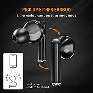 Bluetooth Wireless Earbuds with Charging Case, True Wireless Stereo Headphones in Ear Built-in Mic, IPX4 Waterproof Earbuds, Touch Headset for Sports and Work