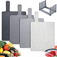 Hodekt Chopping Boards Set of 4 with Rack, Plastic Colour Coded Handle, Dishwasher Safe, BPA Free, Personalised Marble...