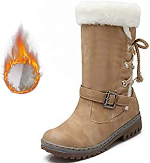 Plus Size Winter Woman Boots Rubber Mid Calf PU Leather Boots Women Plush Buckle Lace Up Beautiful Snow Boots Female