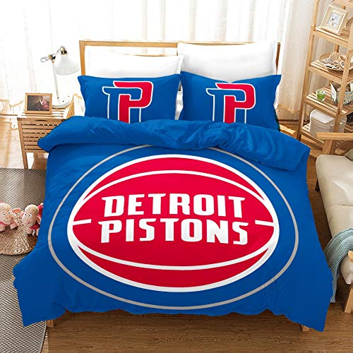 Vampsky NBA Detroit Pistons Basketball Club Teenagers Household Bedding 3 Piece Set with Zipper Closure, 100% Microfiber Soccer Kingdom Team 3D Print 1 Duvet Cover 2 Pillow Shams (Size : 135200cm)