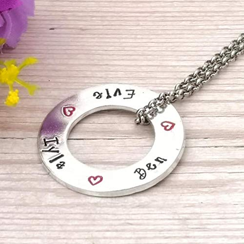 Family Names Necklace | Personalised Washer Necklace | Mum Gift | Children | Nanny | Birthday Gift For Grandma | Grandchildren Name | Circle