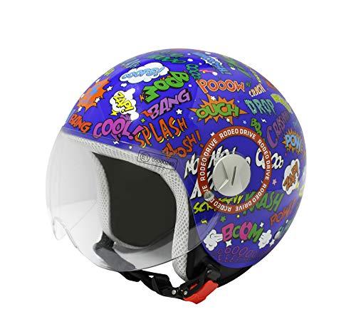 Rodeo Drive RD109G casco scooter blu bambino grafica pop art, grafica splash, L