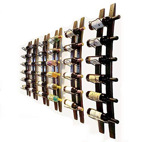 Portabottiglie da parete a forma di barile, intagliato a mano, in grado di contenere nr.6 bottiglie, realizzato in legno, da appendere alla parete (colore marrone, dimensioni 101,6 x 10,2 x 2,5 cm)