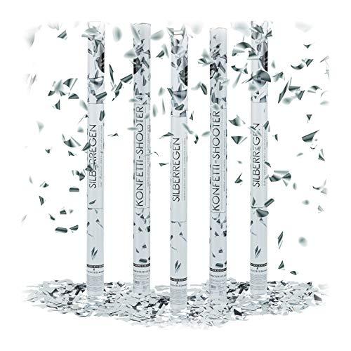 Relaxdays 5 x Party Popper 80 cm im Konfettikanonen Set, Konfetti Bombe für Hochzeit und Geburtstag, Konfetti Shooter, 6-8 m Effekthöhe, Silber metallic