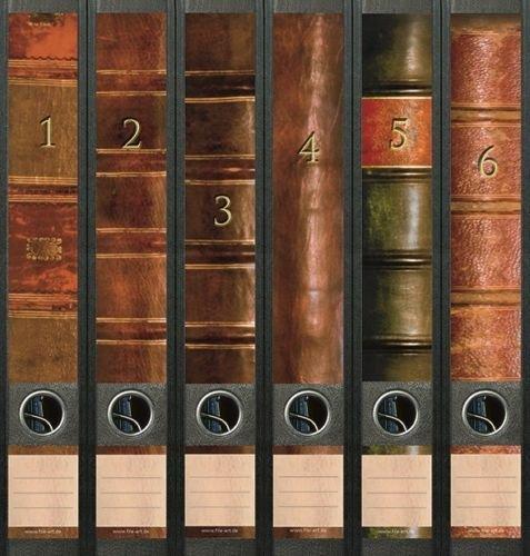 Ordnerrücken schmal 6er Set Ordner Bücher 1 - 6 Lexikon Ordner Aufkleber Etiketten Deko 609