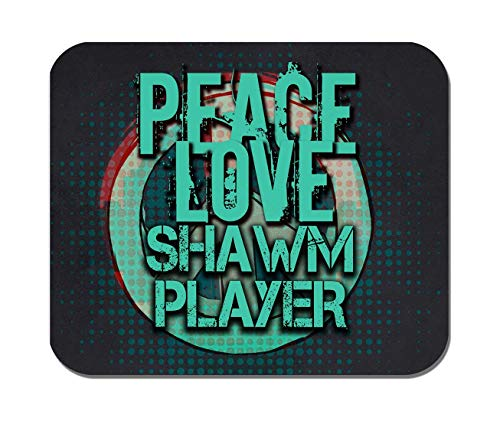 Makoroni - Peace Love Shawm Player Music- Non-Slip Rubber - Computer, Gaming, Office Mousepad