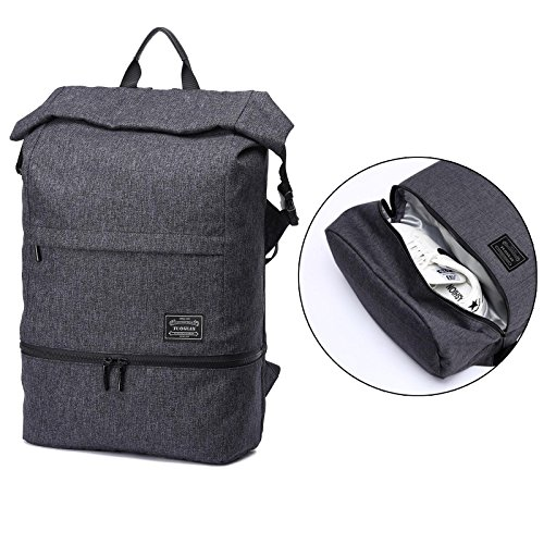 Loiee Anti Theft Backpack, Gym Sport Backpack with Shoe Storage,Multi-function Canvas Travelling bag Laptop Backpack Fits up to 15.6 Inch Macbook for Men Women,Dark gray