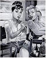 大人のための番号によるDIYペイント初心者キャンバス抽象芸術アクリルキットのために生きるマリリンモンロー-40x50cm