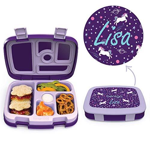 Anton & Sophie BENTGO Kids - MIT Namen PERSONALISIERBAR - Kinder Brotbox mit 5 Unterteilungen - auslaufsicher & robust - Lunchbox/Brotdose perfekt für Kindergarten & Schule (Unicorn (mit Namen))
