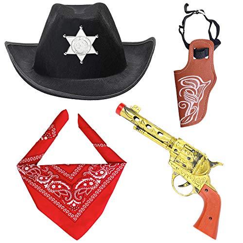 Beefunny Western Cowboy Kostüm Zubehör 3 Stück Set Kostüm Cowboy Hut, Bandana & Pistole und Holster Set Wild West Zubehör (Schwarz)