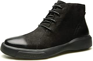 AiHua Huang Ankle Boots for Men High Top Shoes Lace up Faux Suede Upper Burnished Style Platform Anti-Slip Round Toe Outdoor Casual (Color : Black Fleece Inside, Size : 7 UK)