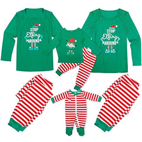 Tianhaik Pijamas de Navidad Familia Manga Larga navideños a