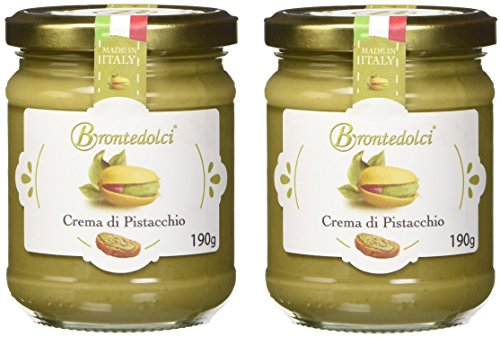 Crème douce de Pistaches, 40% de la pistache de Sicile (Etna), idéal pour le petit déjeuner, mais surtout pour les choses sucrées, 2x190g.