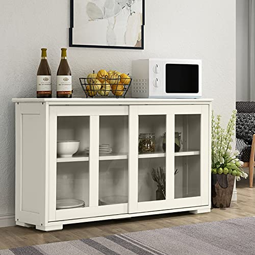COSTWAY Wooden Storage Cabinet, Buffet Sideboard Server Table with Sliding Door and Adjustable Shelf, Console Cupboard Display Organiser Unit for Home Kitchen Living Room Hallway (White, with glass)