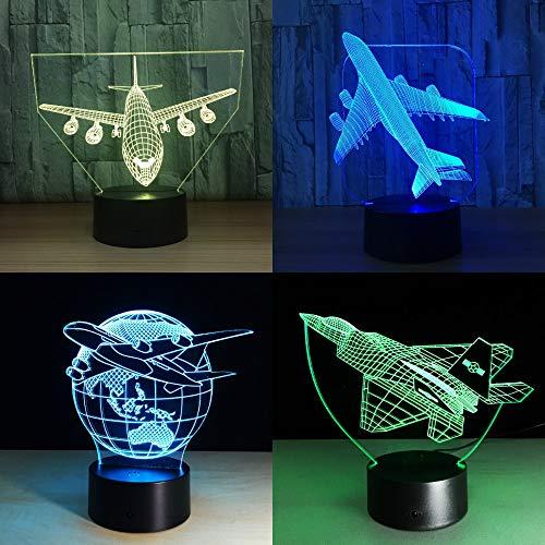 Solo 1 pezzo Touch Remote Air Plane 3D Light Lampada da tavolo a LED Illusione ottica Lampadina Luce notturna Lampada che cambia umore Lampada USB