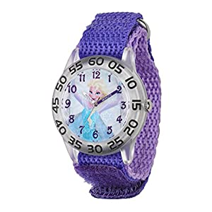 Case diameter : 32 mm Round Time Teacher Plastic Watch with Disney's Elsa character on dial. Meets or exceeds all US Govt requirements and regulations for Children's watches. Recommended for Ages 3-7 years old. Includes a Time Teacher Punch Out clock...
