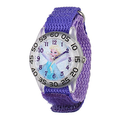Image of the Disney Kids' W001791 Elsa Time Teacher Watch with Purple Band