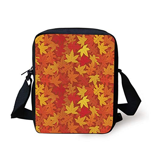 Orange Kids Crossbody Messenger Bag Purse,Colorful Autumn Fall Season Maple Leaves in Unusual Designs Nature Print,Cross Body Bags boys Girls 3D Printed Shoulder Bag,Burnt Orange