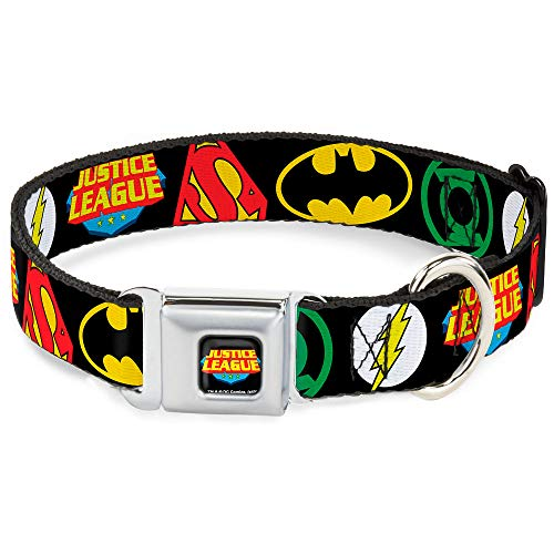 Buckle-Down Seatbelt Buckle Dog Collar - Justice League Superhero Logos CLOSE-UP Black - 1' Wide - Fits 15-26' Neck - Large