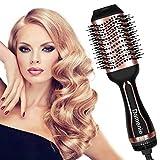 Damenie Haartrockner, 5 in 1 Warmluftbürste Multifunktionaler Föhnbürste Salon Fönbürste Hair Dryer und Volumizer Styler Heißluftbürste Haarglätte Bürste für Alle Styling (Schwarz Rose gold)