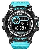 Men Military Sport Watch Fashion Multifunction Digital Watches Alarm Stopwatch Waterproof LED Wristwatch (Blue)
