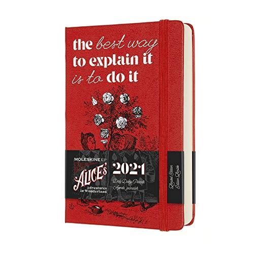 Moleskine - Agenda Giornaliera 12 Mesi, Agenda Giornaliera 2021, Planner in Edizione Limitata Alice nel Paese delle Meraviglie, Tema Carte e Rose Rosse, Formato Pocket 9 x 14 cm, 400 Pagine
