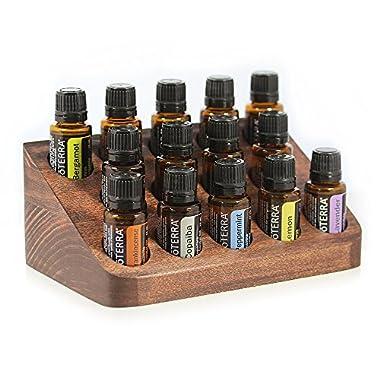 Wooden Essential Oils Storage NOOK - Beautiful Essential Oil Organizer - Holds 14 Oils (5-15ml) - Perfect for Essential Oil Storage + Display (Dark Brown)
