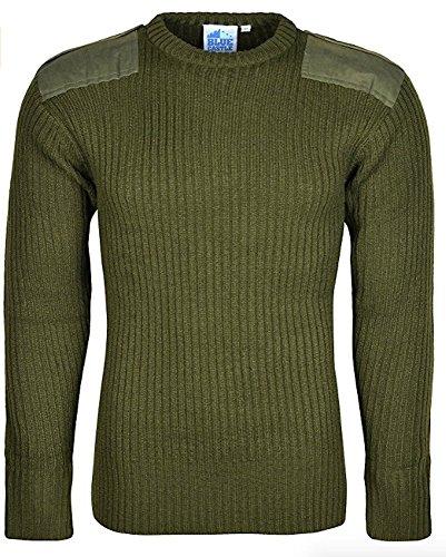 Maglione da uomo, lavorato a maglia, a maniche lunghe Olive Large