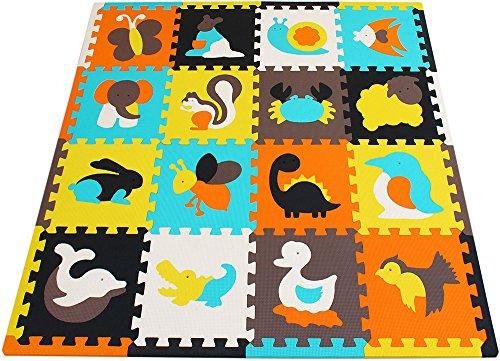 XMTMMD Alfombra de Juego Puzzle–Piezas de Puzzle de Encaje Que Promueven el Desarrollo Sensorial Visual–Alfombra Suave para Niños–9 Azulejos EVA Mat-No Tóxico AMP035G3010