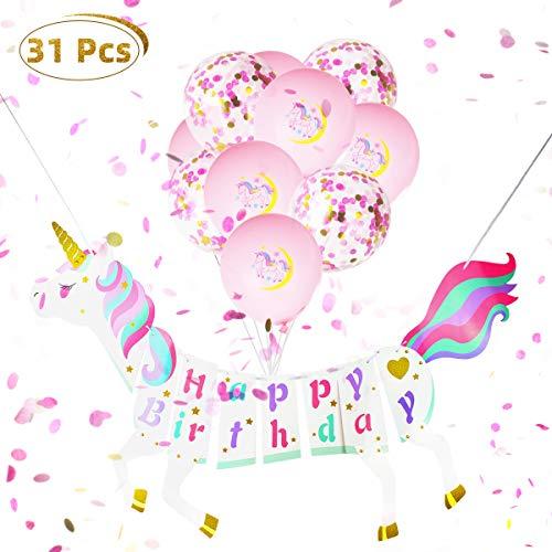 Richaa Decoraciones de Fiesta para niños, 30PCS Globos de Unicornio Rosa y Confeti con Pancarta de Feliz cumpleaños para niños Suministros de Fiesta de cumpleaños de niña