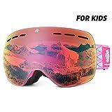 Snowledge Skibrille Kinder, Ski Goggles Kids Snowboard Brille Sphärische Doppelscheibe UV-Schutzbrille Anti-Beschlag 3-Lagige Schaum für Kinder von 6-18 Jahren