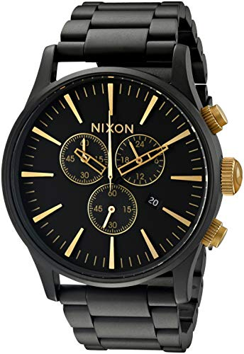Nixon Sentry Chrono A3861041-00. Matte Black/ Gold Men's Watch (42mm Matte Black/Gold Watch Case. 23-20mm Matte Black Stainless Steel Band)
