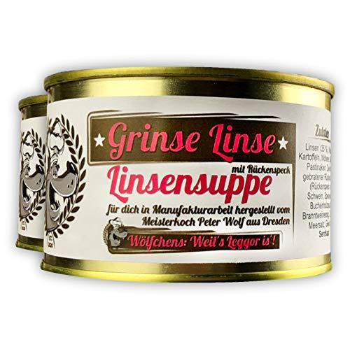 Wölfchens Gourmet Grinse Linse Linsensuppe in der Dose (2 x 430 g)