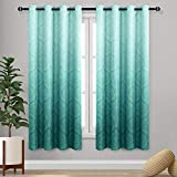 DWCN Ombre Blackout Curtains for Bedroom - Damask Patterned Thermal Insulated Energy Saving Grommet Curtains for Living Room, Set of 2 Gradient Window Curtain Panels, 52 x 63 Inches Long, Teal