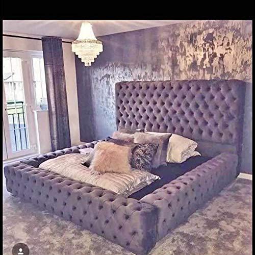 Beds & Co Regal Ambassador - Marco de cama y cabecero tapizado de terciopelo - Individual/Doble/Kingsize/Superking - Hecho a mano en el Reino Unido (felpa, tamaño kingsize - 5 pies)