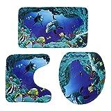 ROSENICE Badezimmer Vorleger 3-teiliges - Ozean-Muster -